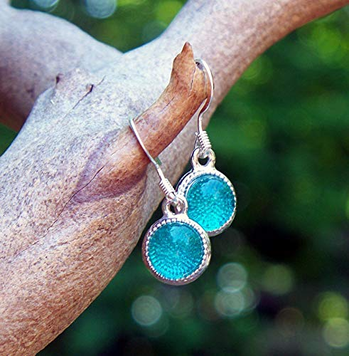 Recycled Vintage Mason Jar Glass Color Dot Earrings