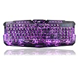 TNI Backlit Gaming Keyboard 3 Colors Cool Crack LED Backlit Mechanical Feel Keyboard 10 Multimedia Control Keys 19 Keys No Conflict Waterproof (2016)