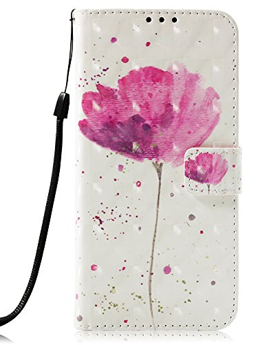 Star Card Holder - Voanice Wallet Case for Galaxy J3 2018 / J3 Achieve / J3 Orbit / J3 Express Prime 3 / Amp Prime 3 / Sol 3/ J3 Star PU Leather with Card Slots Holder and Stand Flip Protective Cover &Stylus-Pink Flower