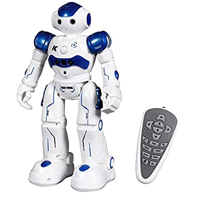 iFixer Remote Control RC Programmable Robot for Boys Girls Kids Birthday Gift Present, LED Illuminated Eyes, Cool Sound Effects and A Simulated Machine Gun Robotics