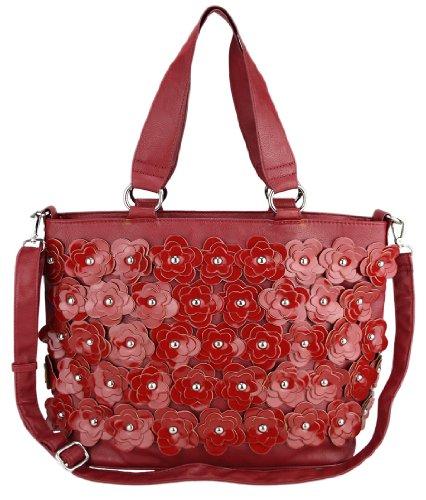 Patent da donna, motivo floreale, colore: rosso-fashion-Borsetta da donna