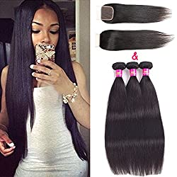 """USOFT Brazilian Straight Virgin Human Hair Bundles With Closure Natural Color Remy Hair Weave Bundles With Lace Closure Soft and No Shedding(16"""" 18"""" 20""""+16"""")"""
