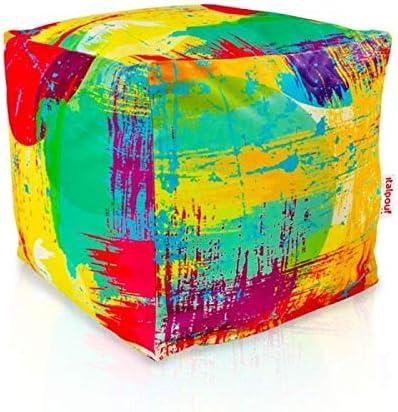 Beige Puff Puf 24 Colori! Pouf Grande da Giardino Poggiapiedi Imbottito Italpouf Pouf Esterno Cubo 50x50x50 Pouf Poggiapiedi Impermeabile