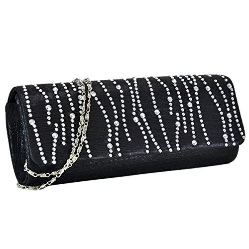 Woman Rhinestone Evening Bag Clutch Purse Crystal Pleated Satin Party Handbag Black by MKY