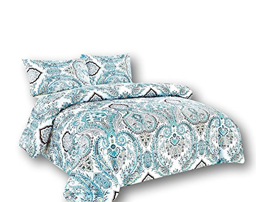 Tache Home Fashion Tache 2 Piece Frozen Forest Blue Paisley Duvet Cover Set, Twin,