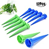 WarmShine 12 Pieces Garden Cone Watering Spikes Drip Controller Flower Plant Self Plant Waterer, Warning (Suit for Bottle Mouth Diameter, 2.7cm/1.06inch)