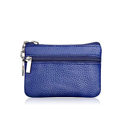 Men Women Kids Card Coin Key Holder Zip Genuine Leather Wallet Pouch Bag Purse (Color - Royal Blue)