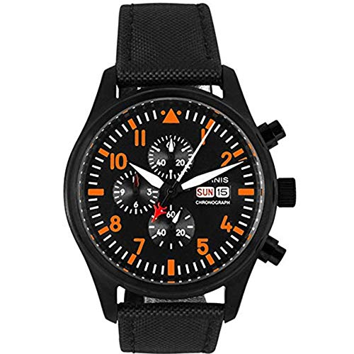 Parnis 42mm Black Dial Orange Marks Black PVD Coated Case Full Chronograph Function Japanese Quartz Movement Date Week Display Men's Wrist Watch Chronograph Full Pvd Case