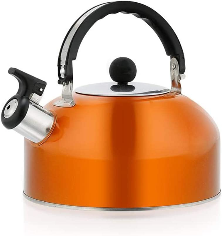 FYJK Home Cordless 3L Stainless Steel Light Weight Whistling Kettle with Traditional//Retro Spout for Hob Or Stove Top,Orange