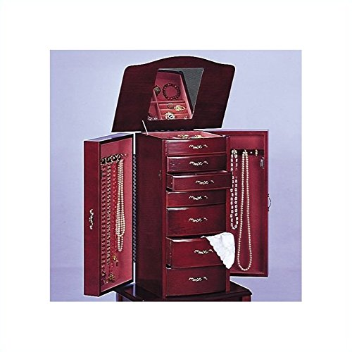 (Salmon Deluxe Jewelry Armoire with Mirror)