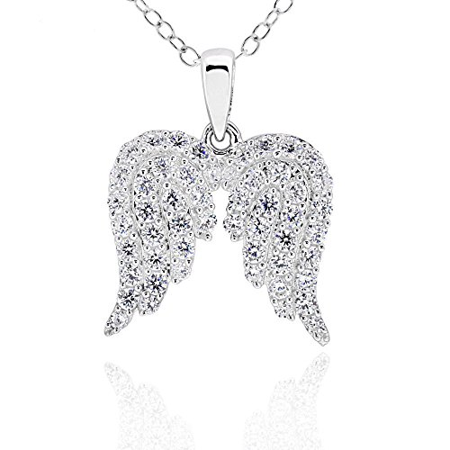 GemsChest Sterling Silver Round Cubic Zirconia Angel Wings Pendant Necklace 18