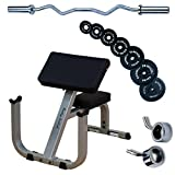 Body Solid GPCB329 Preacher Curl with Olympic Curl Bar, 100lbs. Weights