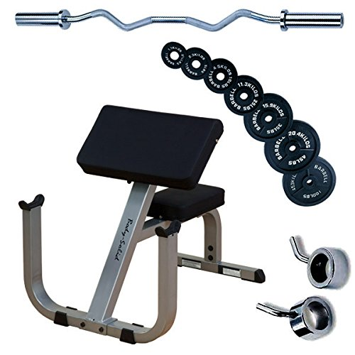 Body Solid GPCB329 Preacher Curl with Olympic Curl Bar, 100lbs. Weights by Body-Solid