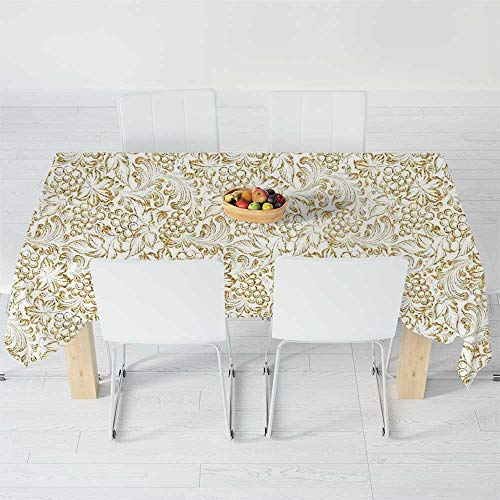 Wedding Grape Invitations - TecBillion Polyester Tablecloth,Kitchen Decor,for Wedding Banquet Restaurant,120 X 60 Inch,Golden Grape Vine Classic Victorian Pattern Invitation