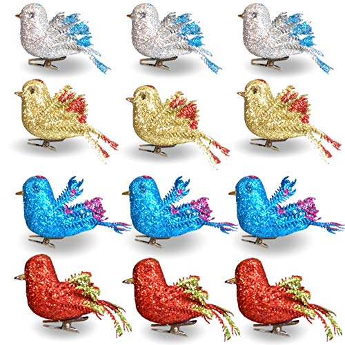 BANBERRY DESIGNS Craft Birds - Set of 12 Glitter Clip-On Birds - Package Includes 3 Red, 3 Blue, 3 Gold and 3 Silver - Artificial (Clip On Bird Ornaments)