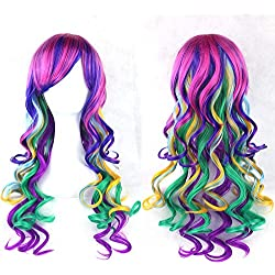 70cm Long Women Hair Ombre Color High Temperature Fiber Wigs Pink Blue Synthetic Hair Cosplay Wig Peruca Pelucas,4/27HL,28inches