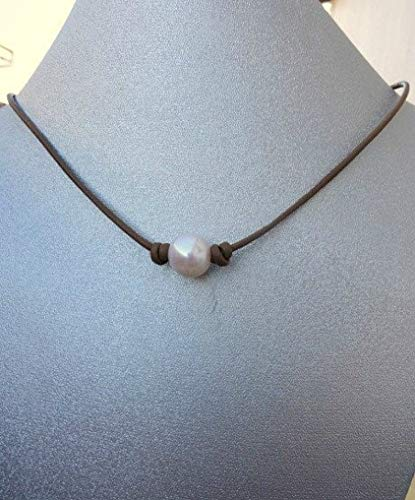 Pearl on Brown Leather necklace. Boho Style (Mm Chocolate Dyed 10)