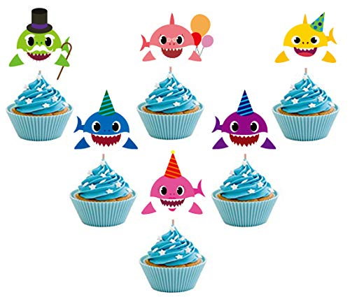 24 Pieces Cute Shark Cupcake Toppers (6 colors),Laughing Shark Cake Toppers Picks for Kids Birthday Party, Baby Shower Cake Decorations