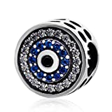 925 Sterling Silver Blue Eye Charm Beads fit on Pandora Charms Bracelets