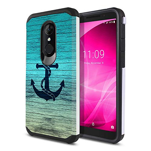 Onyx Anchor - FINCIBO Case Compatible with Alcatel 3 5052 Onyx/T-Mobile Revvl 2 5.5 inch, Dual Layer Hard Back Hybrid Protector Case Cover Anti Shock TPU for Alcatel 3 5052 - Blue Anchor Wood