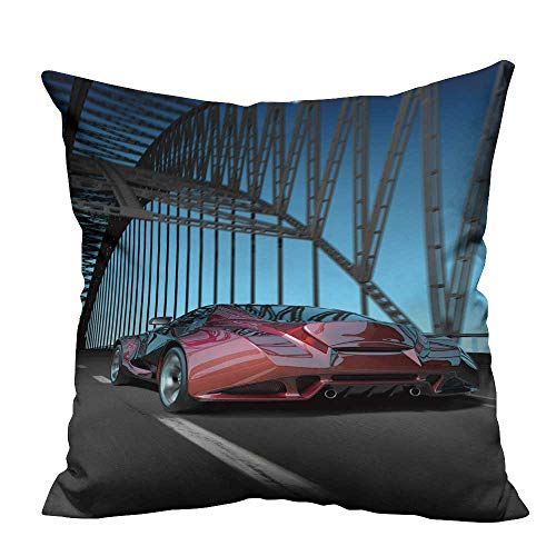 (YouXianHome Sofa Waist Cushion Cover car on Bridge My own car Design not Associate y br Decorative for Kids Adults(Double-Sided Printing) 26x26 inch)