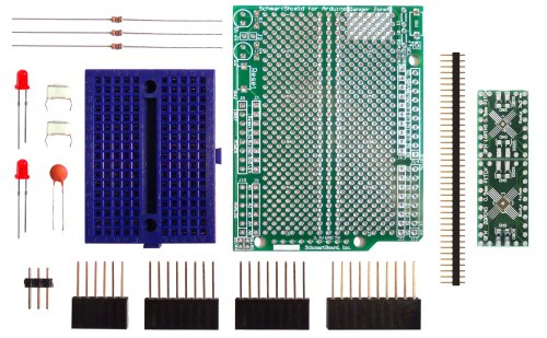 Qfn Dip Adapter - Schmartboard SchmartBoard|ez 0.5mm Pitch, 16 and 20 Pin QFP & QFN to DIP adapter Surface Mount Arduino Uno Shield Kit