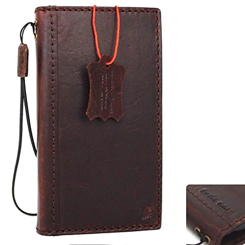 Genuine Italian Full Real Leather Case for iPhone 8 Book Wallet Thin Cover Handmade Luxury Cards Slots Retro Classic Slim Holder - Italian Genuine Leather Holder Card