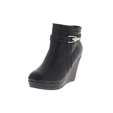 6873cda0a301 ChaussMoi Black wedge boots lined heel 10cm faux leather and croco thick  soles - 7.5