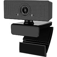 Webcam 1080P HD com microfone embutido, PC Laptop Câmera de vídeo USB 2.0/3.0 para desktop, Teletrabalho, Estudo, Conferência, Gravação, Jogos com clipe rotativo (Black-2)