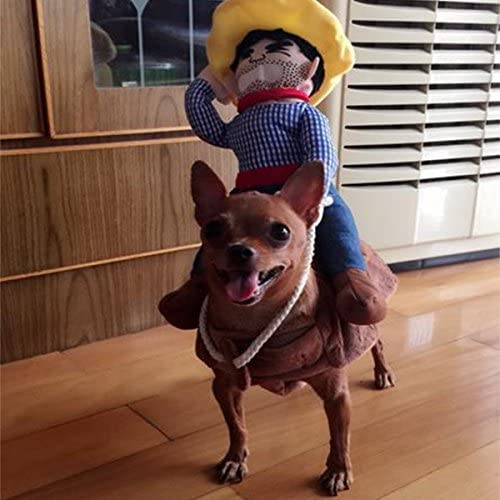 PROtastic Pet Dog Halloween Cowboy Funny Costume Dog Riders Clothes Small