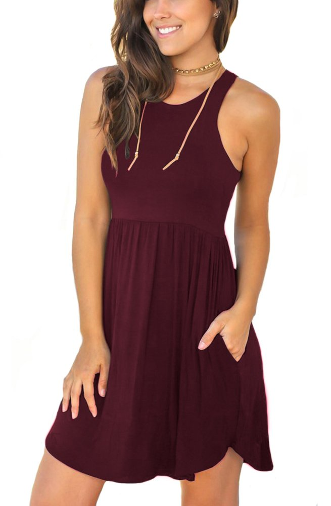 Unbranded* Women's Sleeveless Loose Plain Dresses Casual Short Dress with Pockets Wine Red Medium