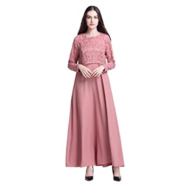 8b8496acc87d Gyratedream Women Maxi Dress Abaya Dresses Autumn Long Sleeves High Waist  Full Skirt Ladies Cocktail Dress Fake Two-Piece Muslim Islamic Dubai Dress:  ...