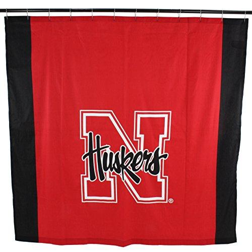 (College Covers NCAA Nebraska Cornhuskers Big Logo Shower Curtain, Red, 72