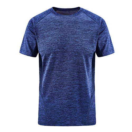 - iHPH7 T-Shirt Men Classic Fit O-Neck T-Shirt Men Summer Casual O-Neck T-Shirt Fitness Sport Fast-Dry Breathable Top Blouse XXL Blue