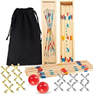 2 Sets Wooden Pickup Sticks Game with Box and 2 Sets Jacks Game Toys Include 2 Pieces Red Rubber Balls and 20