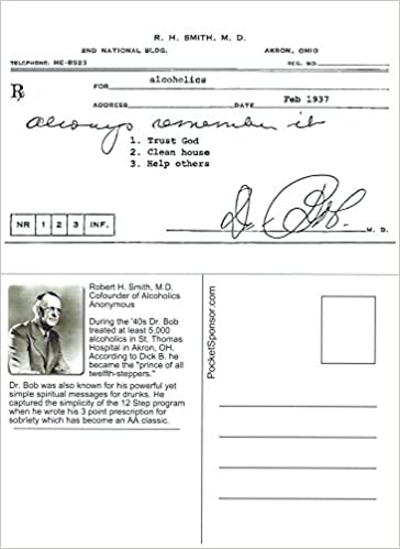 Workbook aa 4th step worksheets : Dr. Bob's Prescription for Recovery Reproduction Postcard (50 Pack ...