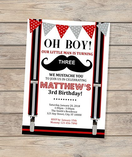 Amazon Com Mustache Bash Birthday Party Invitation Mustache Little