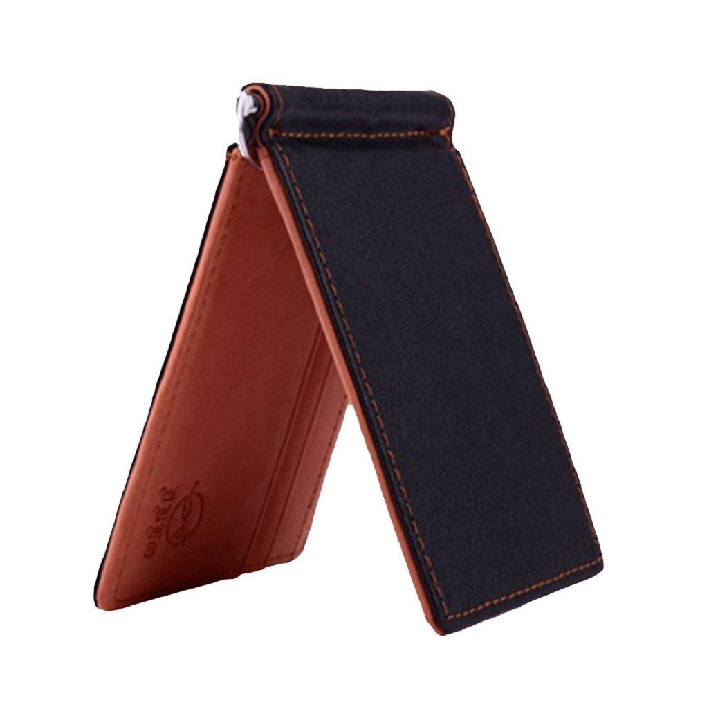 Pu ran Men Slim Faux Leather Front Pocket Minimalist Wallet Bi-fold Cash Money Clip (Brown)