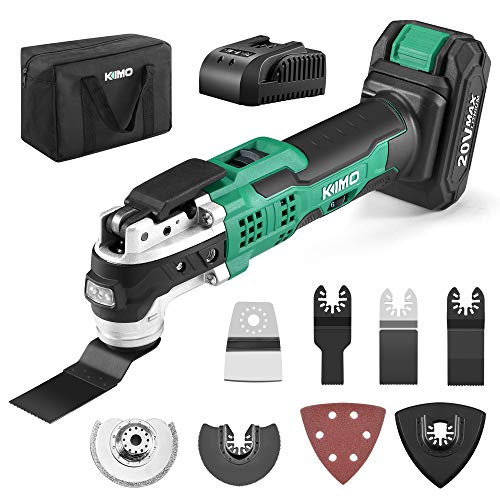 KIMO 20V Cordless Oscillating Tool Kit w/26-Piece Accessories, 21000 RPM Variable Speed & 3° Oscillating Angle, LED…