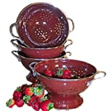 Steel Core 3 Quart Enamel Colander Strainer - Beautiful Chocolate Raspberry Color