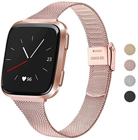 "Meliya Metal Slim Bands Compatible for Fitbit Versa 2 / Fitbit Versa/Fitbit Versa Lite, Stainless Steel Metal Clasp Thin Replacement Bands for Women Men (for six.7""-8.7"" Wrists, Rose Pink)"