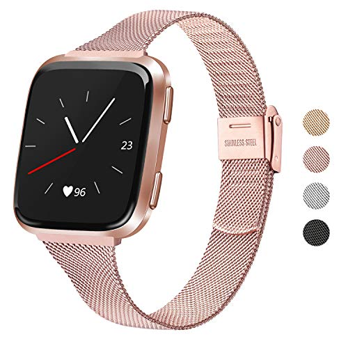 "Meliya Metal Slim Bands Compatible for Fitbit Versa 2 / Fitbit Versa/Fitbit Versa Lite, Stainless Steel Metal Clasp Thin Replacement Bands for Women Men (for 6.7""-8.7"" Wrists, Silver)"