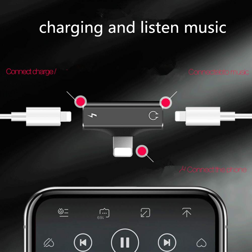 Splitter Adapter, Cherry 2 in 1 Dual Ports for Headphone Audio & Charge Adapter for iPhone 7/7 plus/8/8 Plus/X, Support Calling Function & Music Control (Black)