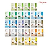 DERMAL Collagen Essence Full Face Facial Mask Sheet (26 Green & Yellow Combo Pack)