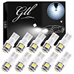 GLL 10pcs T10 501 LED Bulbs 24V W5W 194 168 2825 Wedge T10 Lampe with 5050 5 SMD 60 Lumens (White)