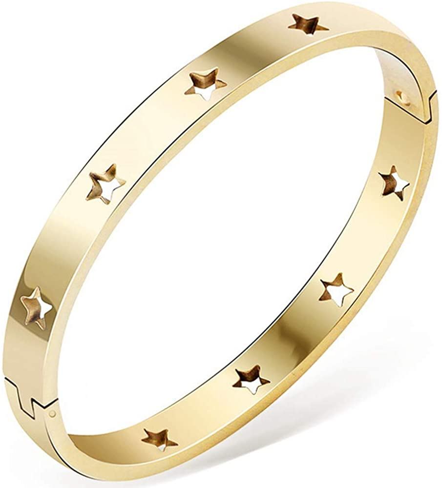Jude Jewelers Stainless Steel Stars Open Clasp Classical Plain Bangle Bracelet