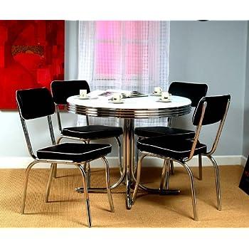 Amazoncom Retro Dining Table Set Four Black Chairs Chrome