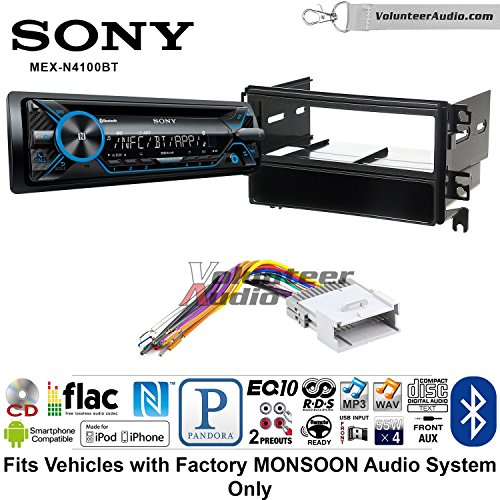 Volunteer Audio Sony MEX-N4100BT Single Din Radio Install Kit with Bluetooth, CD Player Fits 2001-2006 Hyundai Santa Fe (Factory Monsoon Sound Only)
