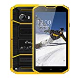 EL W8 4G LTE Rugged Smartphone Unlocked IP68 Wateproof Dustproof Shockproof 5.5 Inch 16GB/2GB Android 6.0 Camera 8.0MP Unlocked Military Grade GSM Cellphone (Yellow)