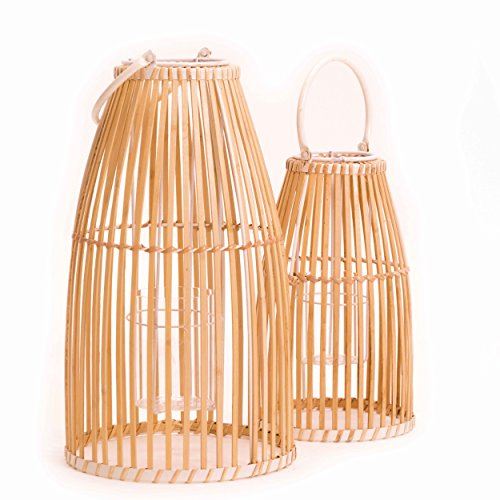 WHW Whole House Worlds Key West Bamboo Cage Hurricane Lanterns, Set of 2, White Metal Frame, Loop Handle, Floating Glass Insert, 9 3/4 D x 17 1/4 T, and 7 D x 12 1/4 T Inches, Modern Tropical Design